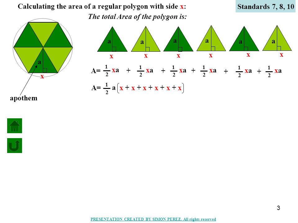 3 Calculating the area of a regular polygon with side x: a A= x a xaxa 1 2 x a xaxa 1 2 + x a xaxa 1 2 + x a xaxa 1 2 + x a xaxa 1 2 + x a xaxa 1 2 + a 1 2 x + x + x + x + x + x The total Area of the polygon is: x Standards 7, 8, 10 apothem PRESENTATION CREATED BY SIMON PEREZ.