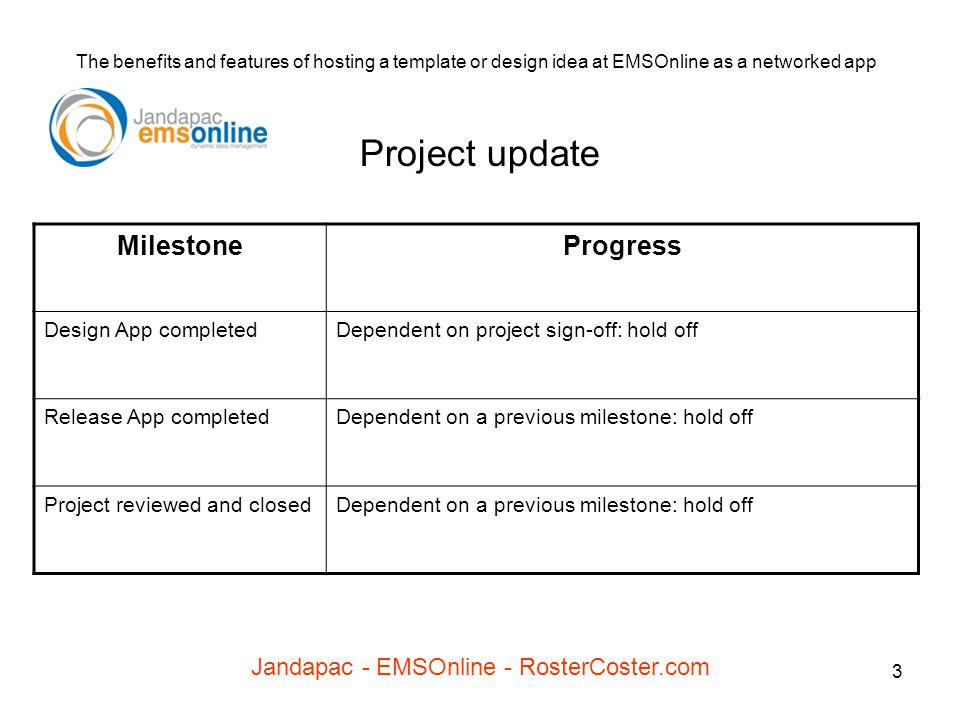 3 The benefits and features of hosting a template or design idea at EMSOnline as a networked app Jandapac - EMSOnline - RosterCoster.com Project updat