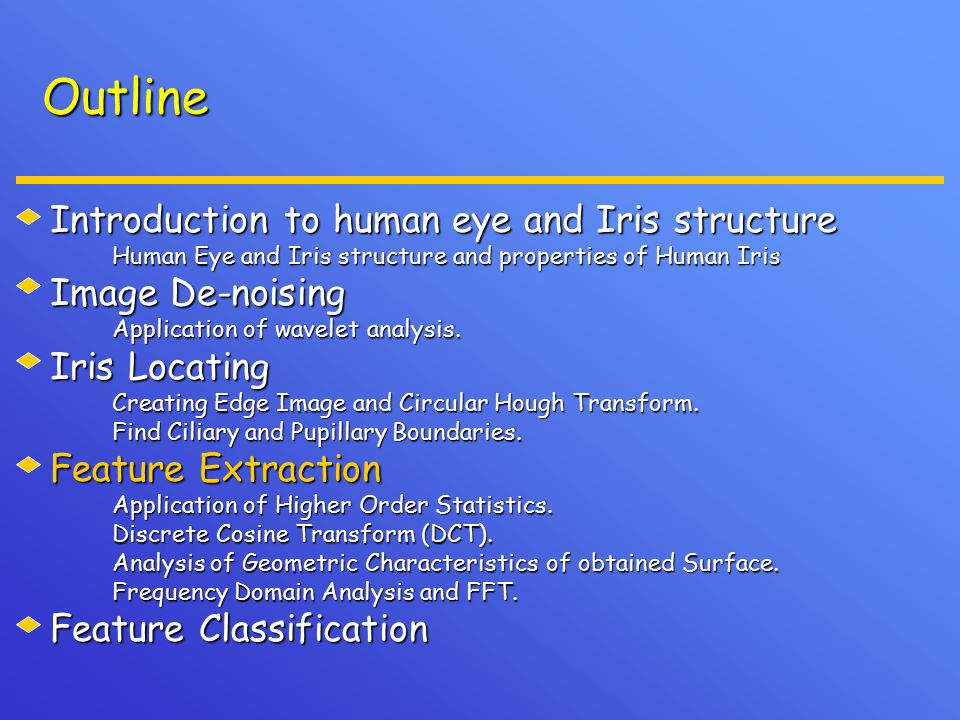Outline Introduction to human eye and Iris structure Human Eye and Iris structure and properties of Human Iris Human Eye and Iris structure and properties of Human Iris Image De-noising Application of wavelet analysis.