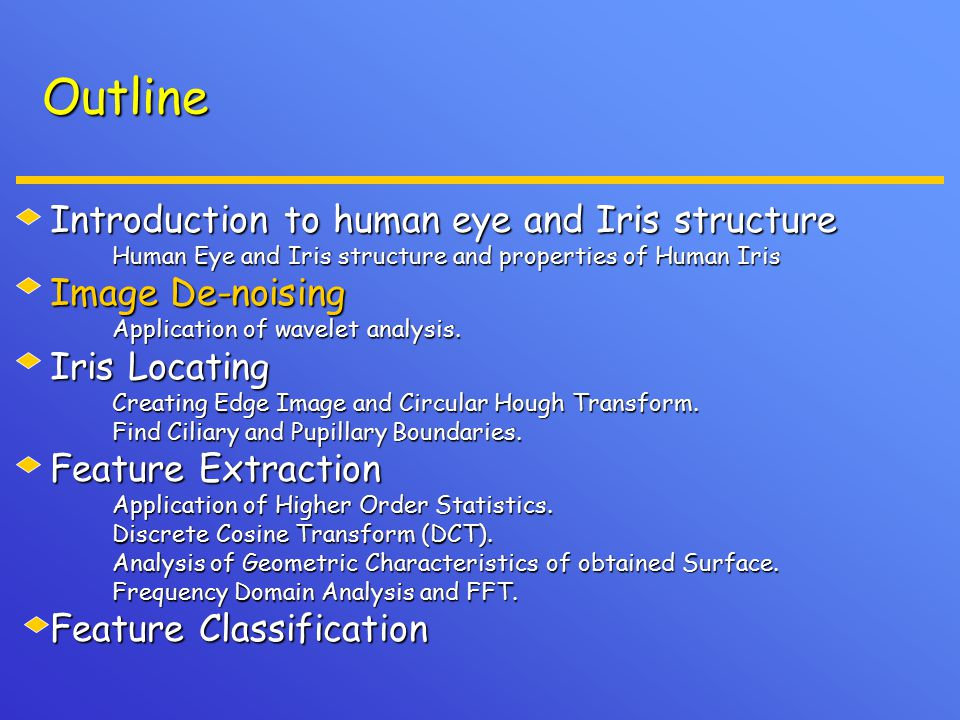 Outline Introduction to human eye and Iris structure Human Eye and Iris structure and properties of Human Iris Human Eye and Iris structure and proper