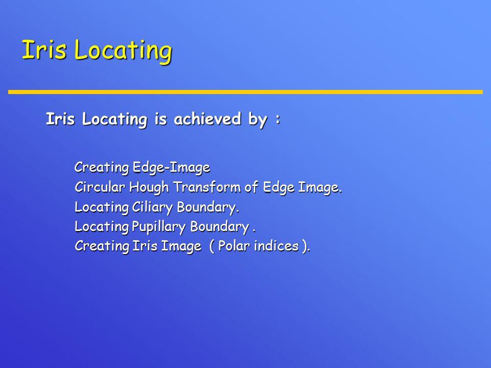 Iris Locating Iris Locating is achieved by : Creating Edge-Image Creating Edge-Image Circular Hough Transform of Edge Image. Circular Hough Transform