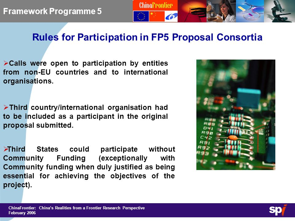 ChinaFrontier: China's Realities from a Frontier Research Perspective February 2006 Rules for Participation in FP5 Proposal Consortia Framework Programme 5  Calls were open to participation by entities from non-EU countries and to international organisations.
