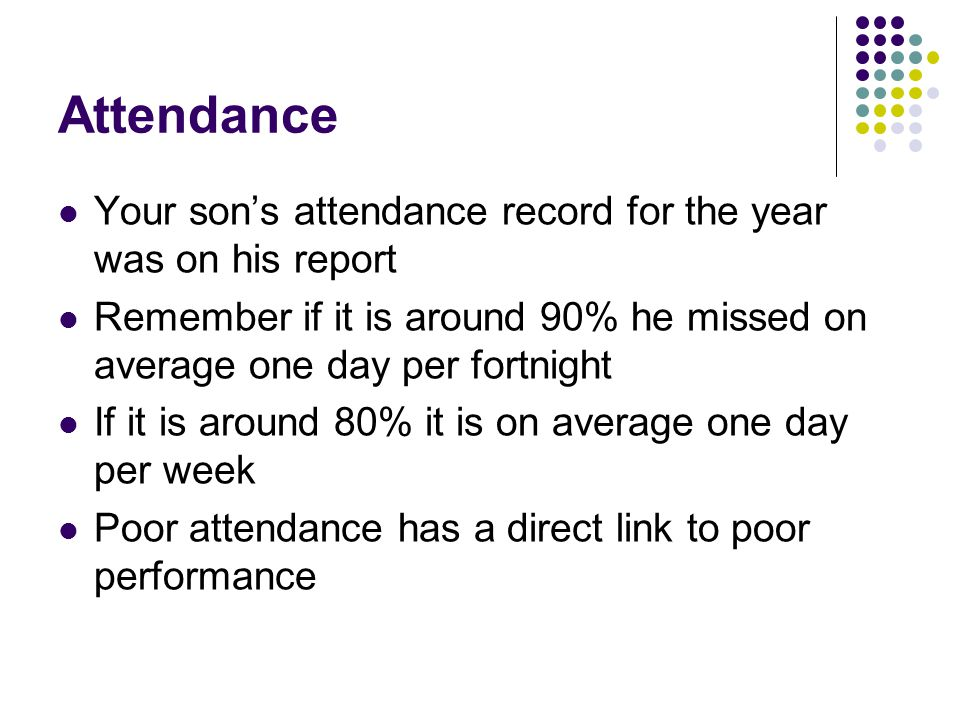 Attendance Your son's attendance record for the year was on his report Remember if it is around 90% he missed on average one day per fortnight If it is around 80% it is on average one day per week Poor attendance has a direct link to poor performance