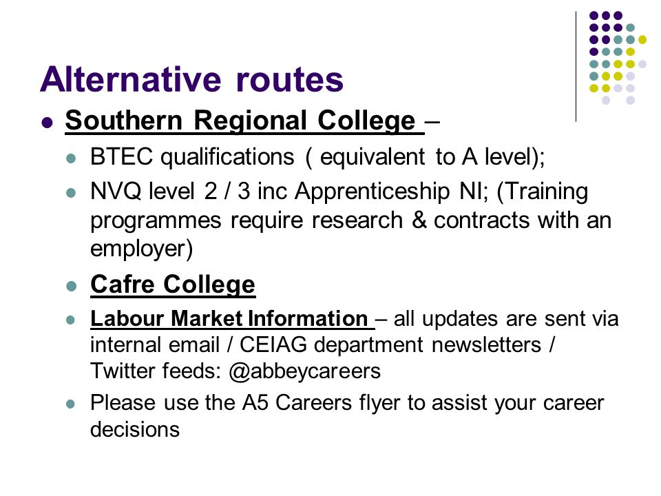 Alternative routes Southern Regional College – BTEC qualifications ( equivalent to A level); NVQ level 2 / 3 inc Apprenticeship NI; (Training programmes require research & contracts with an employer) Cafre College Labour Market Information – all updates are sent via internal email / CEIAG department newsletters / Twitter feeds: @abbeycareers Please use the A5 Careers flyer to assist your career decisions