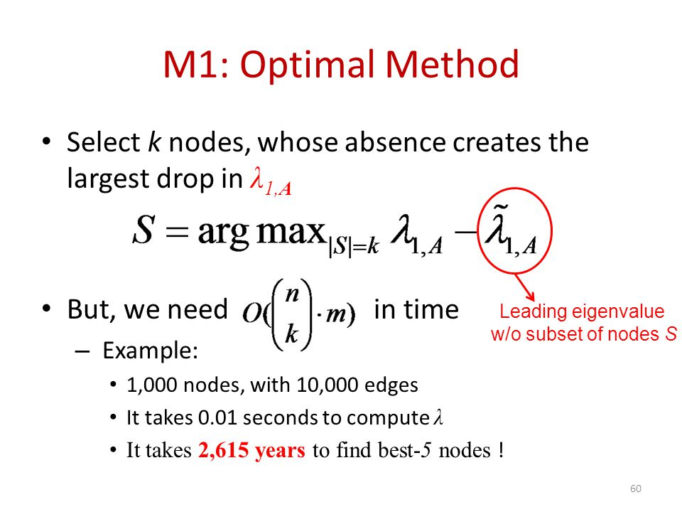 M1: Optimal Method Select k nodes, whose absence creates the largest drop in λ 1,A But, we need in time – Example: 1,000 nodes, with 10,000 edges It takes 0.01 seconds to compute λ It takes 2,615 years to find best-5 nodes .