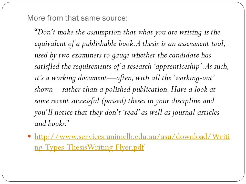 More from that same source: Don't make the assumption that what you are writing is the equivalent of a publishable book.
