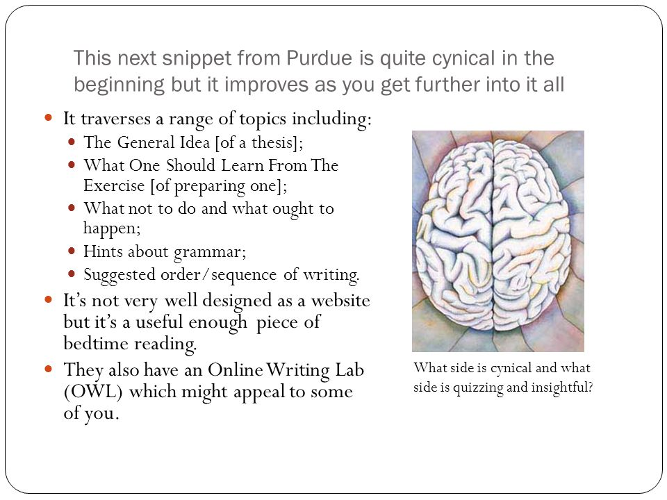 This next snippet from Purdue is quite cynical in the beginning but it improves as you get further into it all It traverses a range of topics including: The General Idea [of a thesis]; What One Should Learn From The Exercise [of preparing one]; What not to do and what ought to happen; Hints about grammar; Suggested order/sequence of writing.