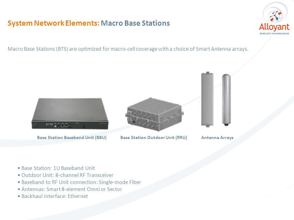 Base Station: 1U Baseband Unit Outdoor Unit: 8-channel RF Transceiver Baseband to RF Unit connection: Single-mode Fiber Antennas: Smart 8-element Omni or Sector Backhaul Interface: Ethernet Macro Base Stations (BTS) are optimized for macro-cell coverage with a choice of Smart Antenna arrays.