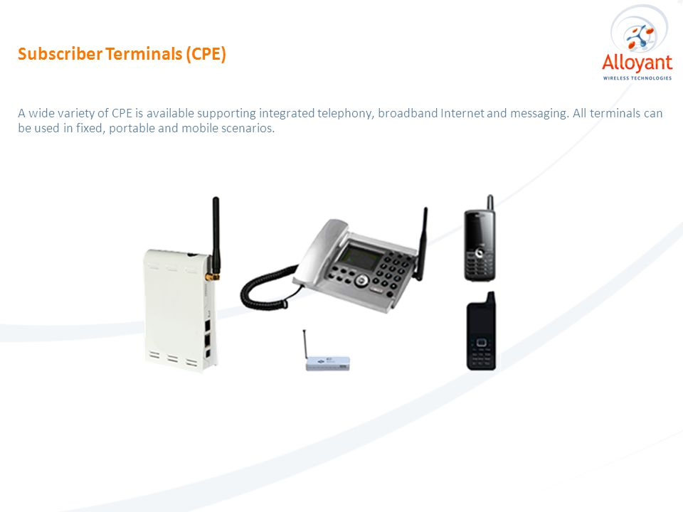 A wide variety of CPE is available supporting integrated telephony, broadband Internet and messaging.