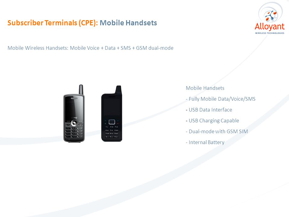 Mobile Handsets - Fully Mobile Data/Voice/SMS - USB Data Interface - USB Charging Capable - Dual-mode with GSM SIM - Internal Battery Mobile Wireless Handsets: Mobile Voice + Data + SMS + GSM dual-mode Subscriber Terminals (CPE): Mobile Handsets