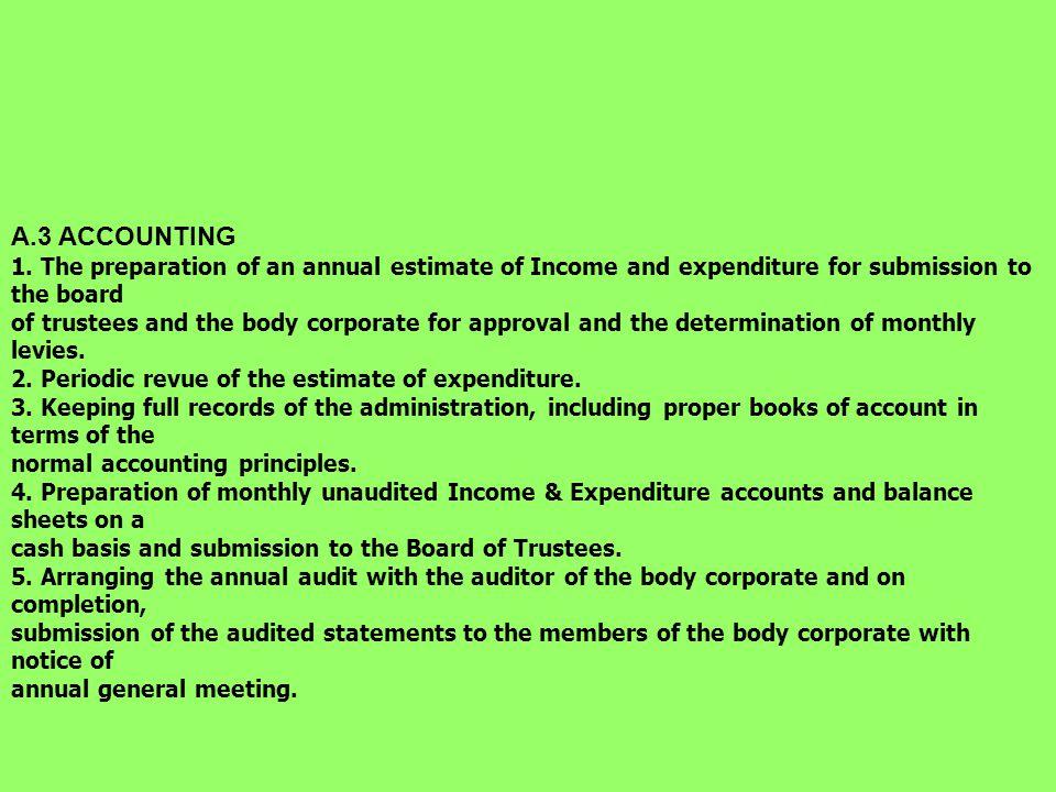 A.2 SECRETARIAL 1.Arranging the annual general meeting.