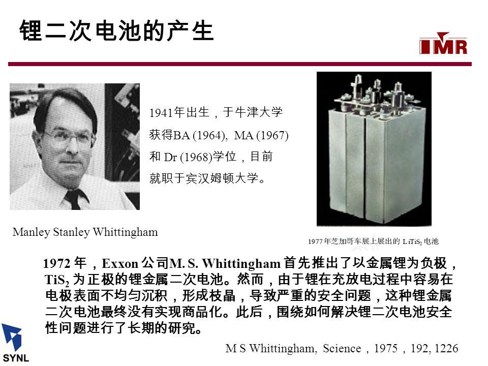 1972 年, Exxon 公司 M. S. Whittingham 首先推出了以金属锂为负极, TiS 2 为正极的锂金属二次电池。然而,由于锂在充放电过程中容易在 电极表面不均匀沉积,形成枝晶,导致严重的安全问题,这种锂金属 二次电池最终没有实现商品化。此后,围绕如何解决锂二次电池安全 性问题进