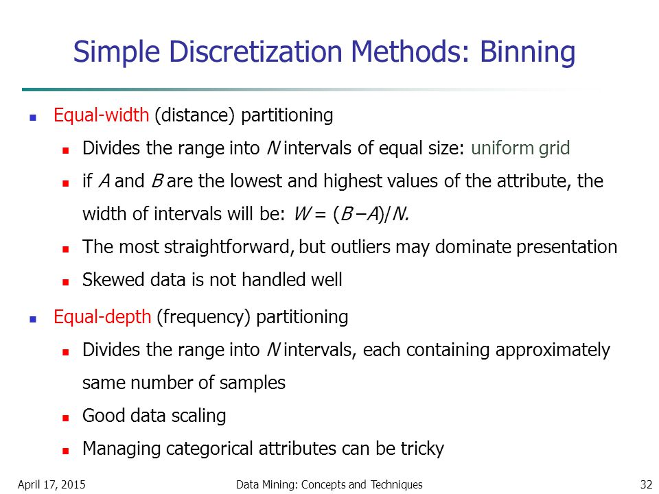 April 17, 2015Data Mining: Concepts and Techniques32 Simple Discretization Methods: Binning Equal-width (distance) partitioning Divides the range into