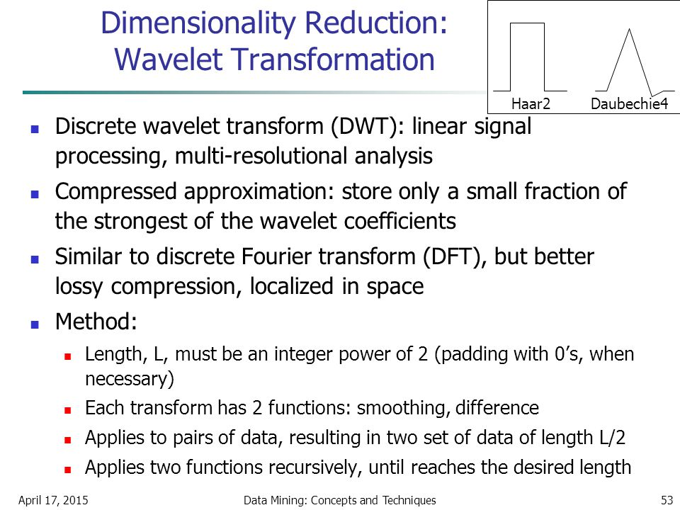 April 17, 2015Data Mining: Concepts and Techniques53 Dimensionality Reduction: Wavelet Transformation Discrete wavelet transform (DWT): linear signal