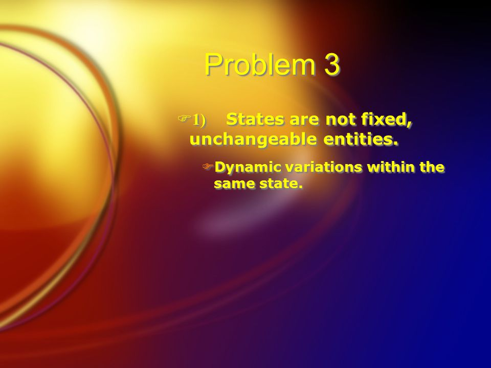 Problem 3  1) States are not fixed, unchangeable entities. FDynamic variations within the same state.  1) States are not fixed, unchangeable entitie