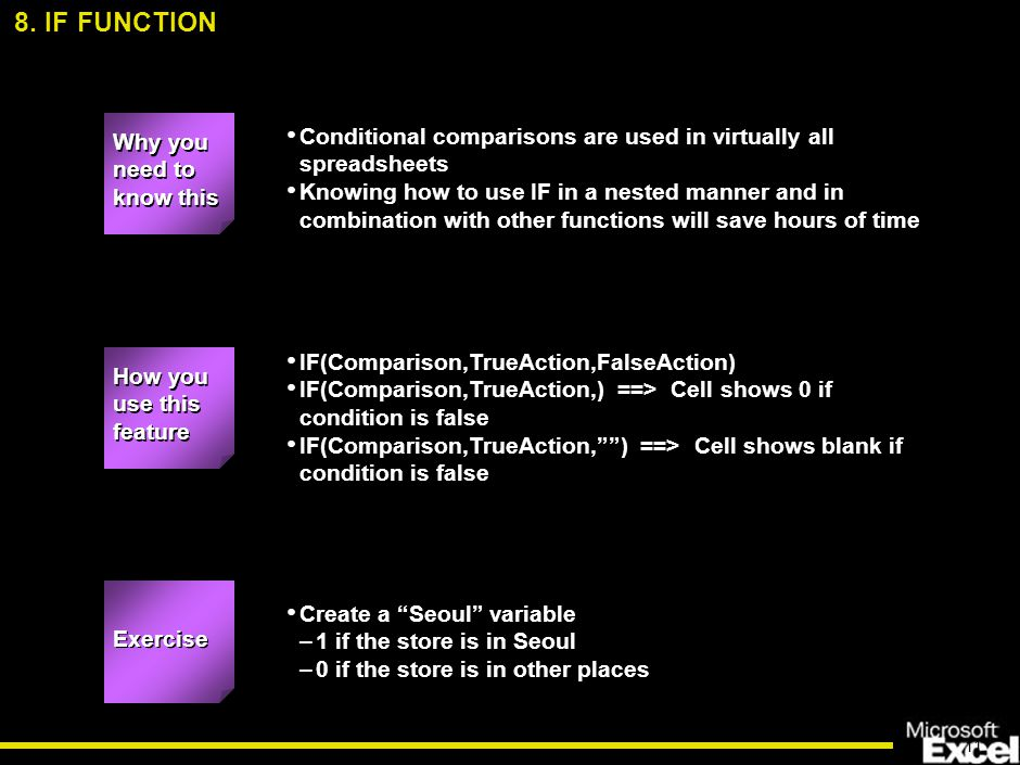 11 Conditional comparisons are used in virtually all spreadsheets Knowing how to use IF in a nested manner and in combination with other functions will save hours of time IF(Comparison,TrueAction,FalseAction) IF(Comparison,TrueAction,) ==> Cell shows 0 if condition is false IF(Comparison,TrueAction, ) ==> Cell shows blank if condition is false Create a Seoul variable –1 if the store is in Seoul –0 if the store is in other places 8.