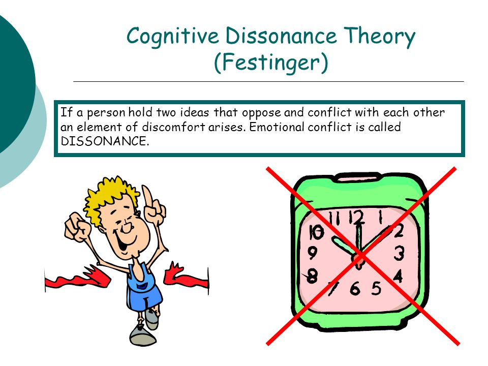 Cognitive Dissonance Theory (Festinger) If a person hold two ideas that oppose and conflict with each other an element of discomfort arises. Emotional