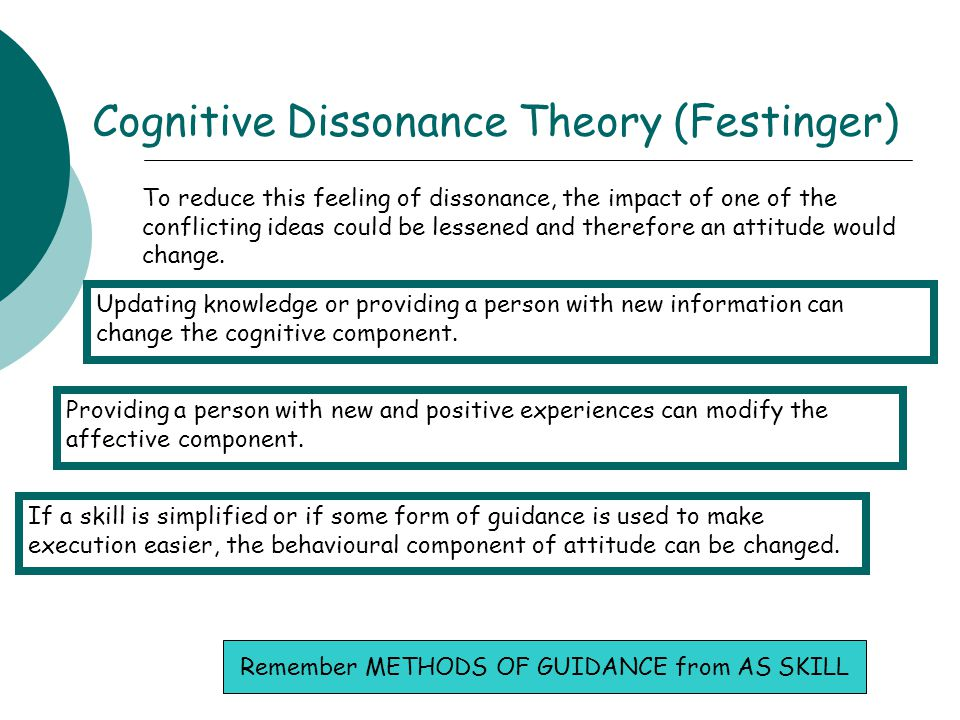 Cognitive Dissonance Theory (Festinger) To reduce this feeling of dissonance, the impact of one of the conflicting ideas could be lessened and therefo