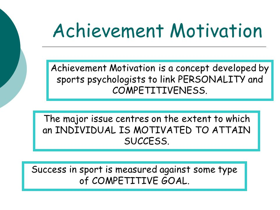 Achievement Motivation Achievement Motivation is a concept developed by sports psychologists to link PERSONALITY and COMPETITIVENESS. The major issue