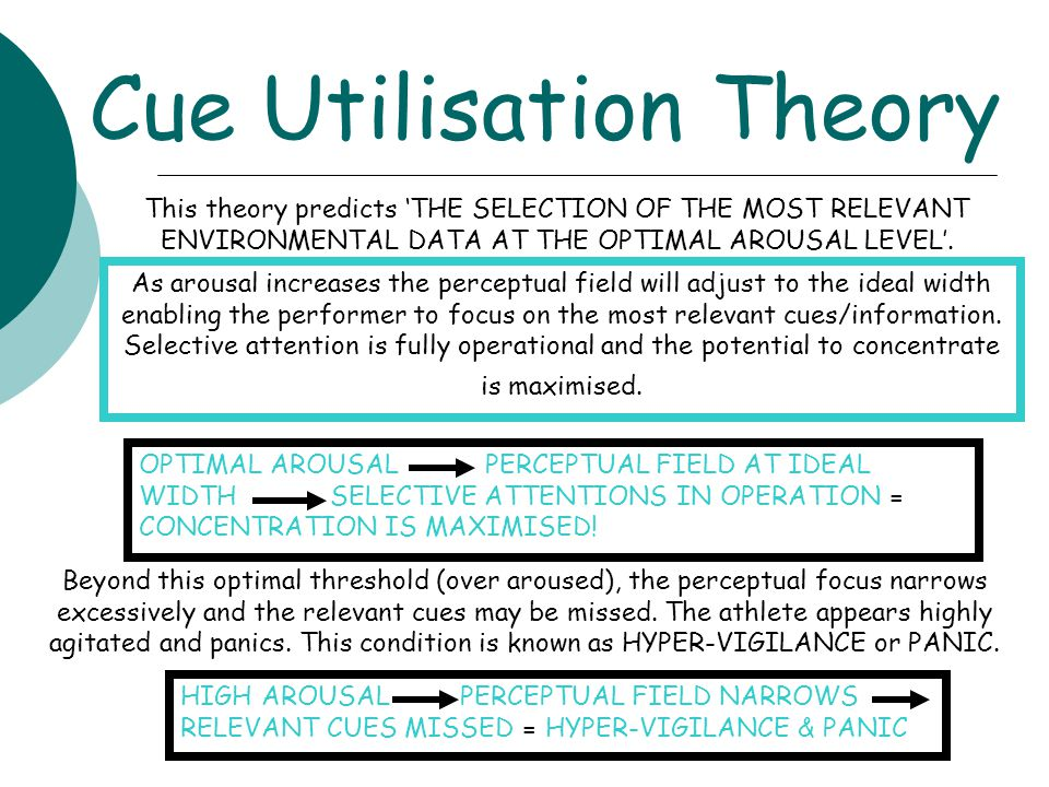 Cue Utilisation Theory This theory predicts 'THE SELECTION OF THE MOST RELEVANT ENVIRONMENTAL DATA AT THE OPTIMAL AROUSAL LEVEL'. As arousal increases