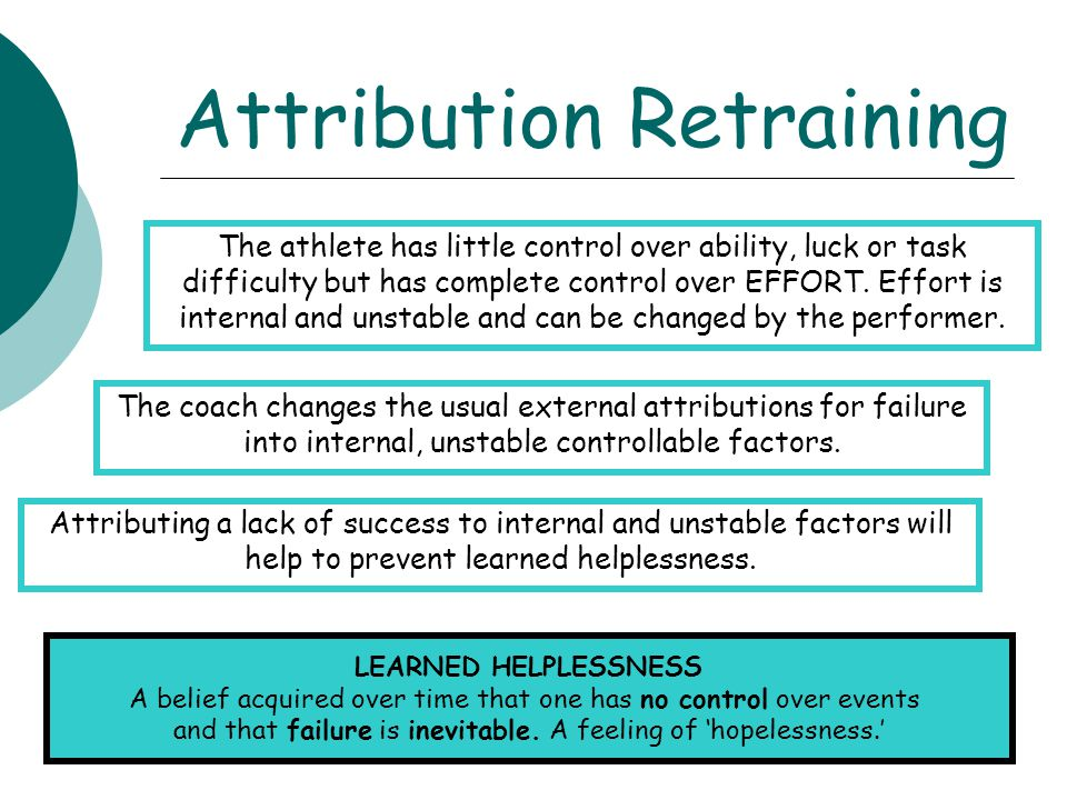 Attribution Retraining The coach changes the usual external attributions for failure into internal, unstable controllable factors. The athlete has lit