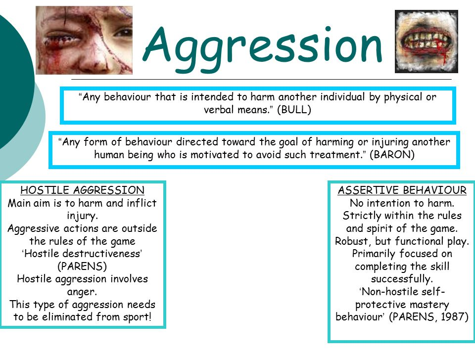 """Aggression """" Any behaviour that is intended to harm another individual by physical or verbal means. """" (BULL) """" Any form of behaviour directed toward t"""