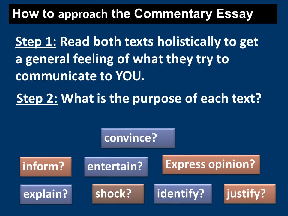 How to approach the Commentary Essay Step 1: Read both texts holistically to get a general feeling of what they try to communicate to YOU. Step 2: Wha