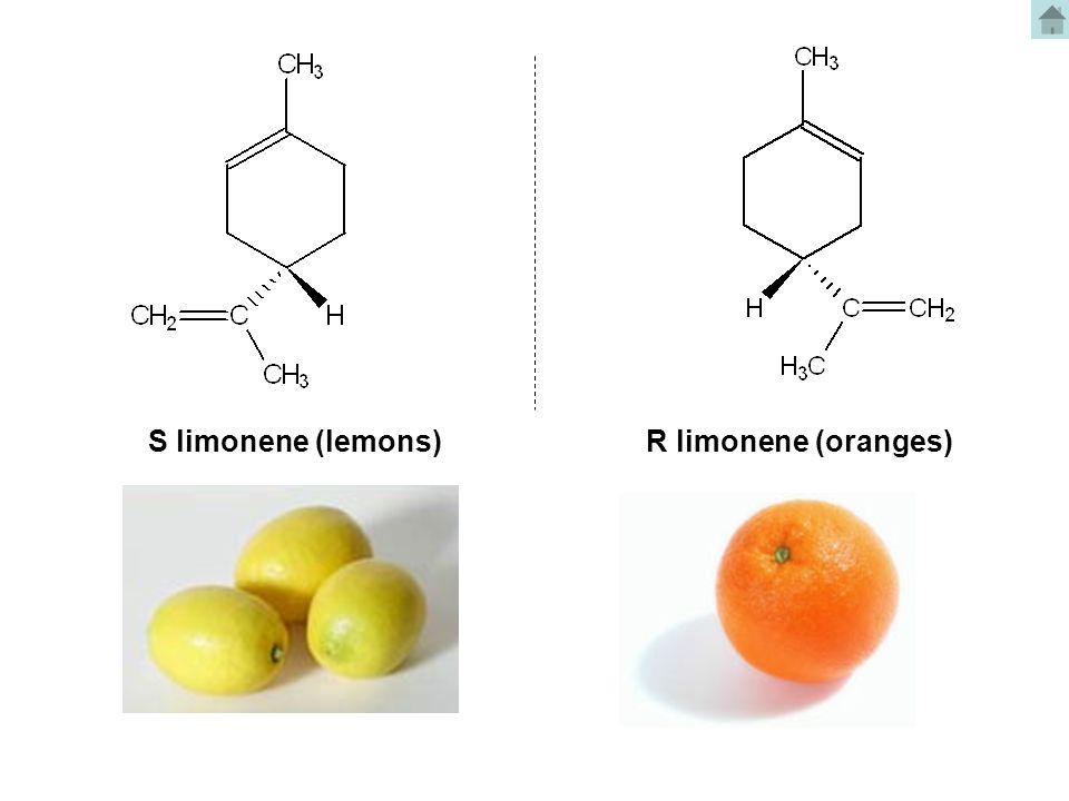 S limonene (lemons)R limonene (oranges)