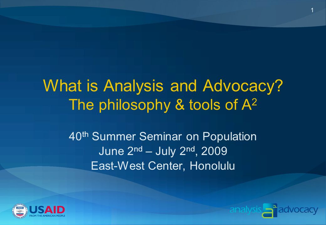 1 What is Analysis and Advocacy.