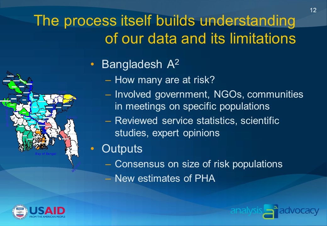 12 The process itself builds understanding of our data and its limitations Bangladesh A 2 –How many are at risk.
