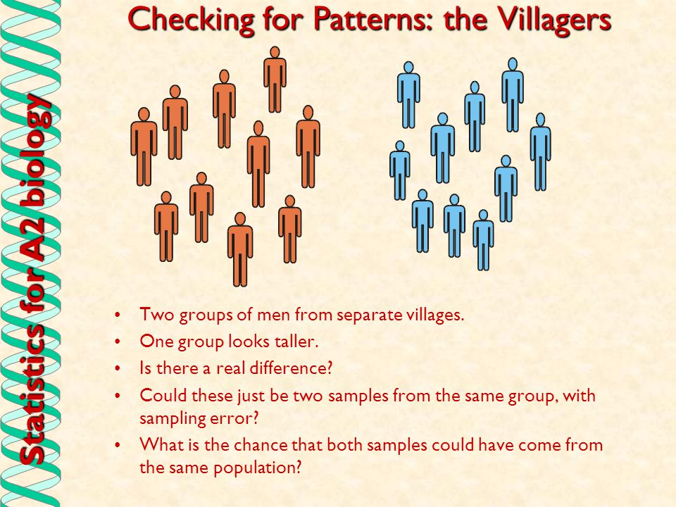 Statistics for A2 biology Checking for Patterns: the Villagers Two groups of men from separate villages. One group looks taller. Is there a real diffe
