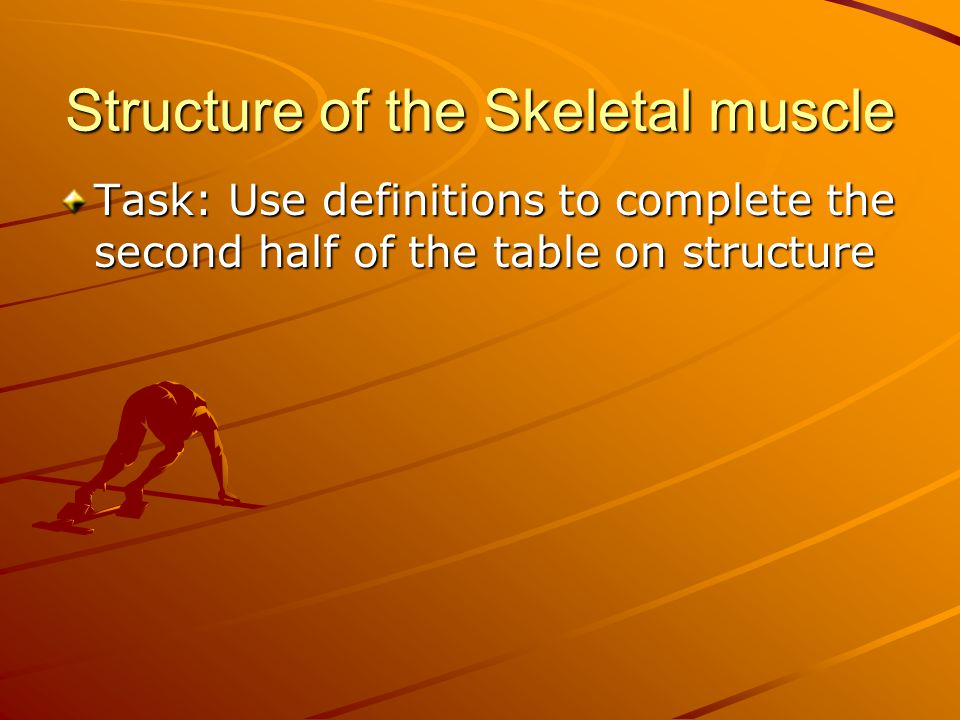 Structure of the Skeletal muscle Task: Use definitions to complete the second half of the table on structure