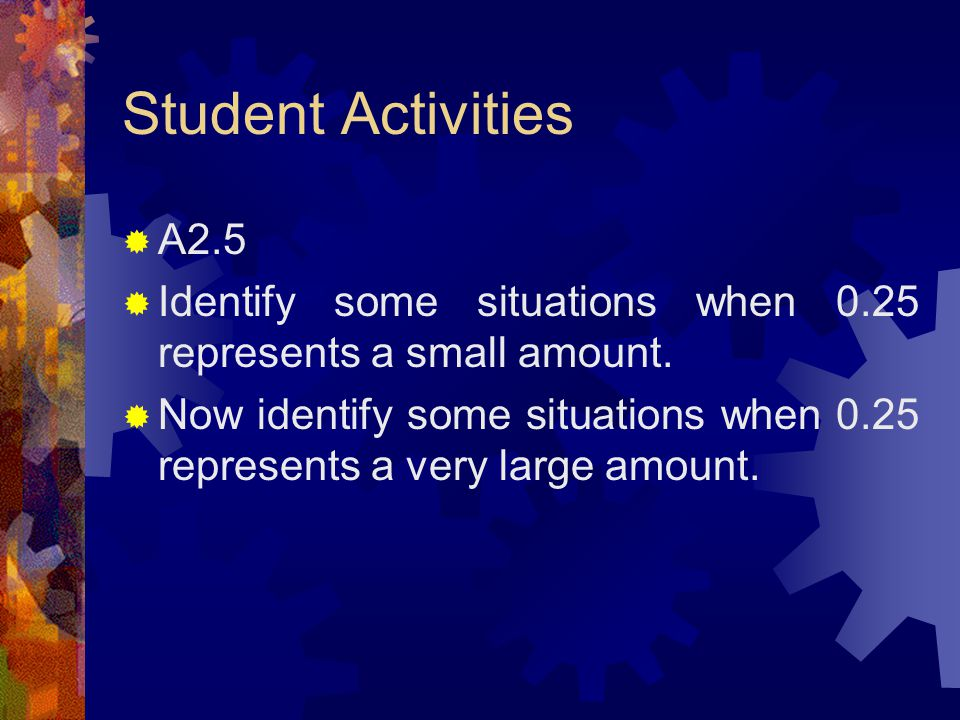 Student Activities  A2.4  The number 0.452 can be represented or expressed as: 452/1000 45/100 + 2/1000 4/10 + 52/1000  Express 0.135 in at least three different ways.