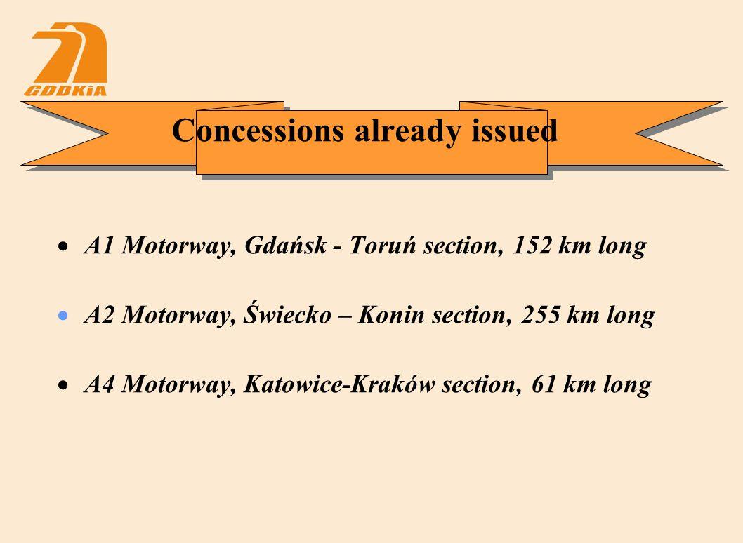 Concessions already issued  A1 Motorway, Gdańsk - Toruń section, 152 km long  A2 Motorway, Świecko – Konin section, 255 km long  A4 Motorway, Katowice-Kraków section, 61 km long