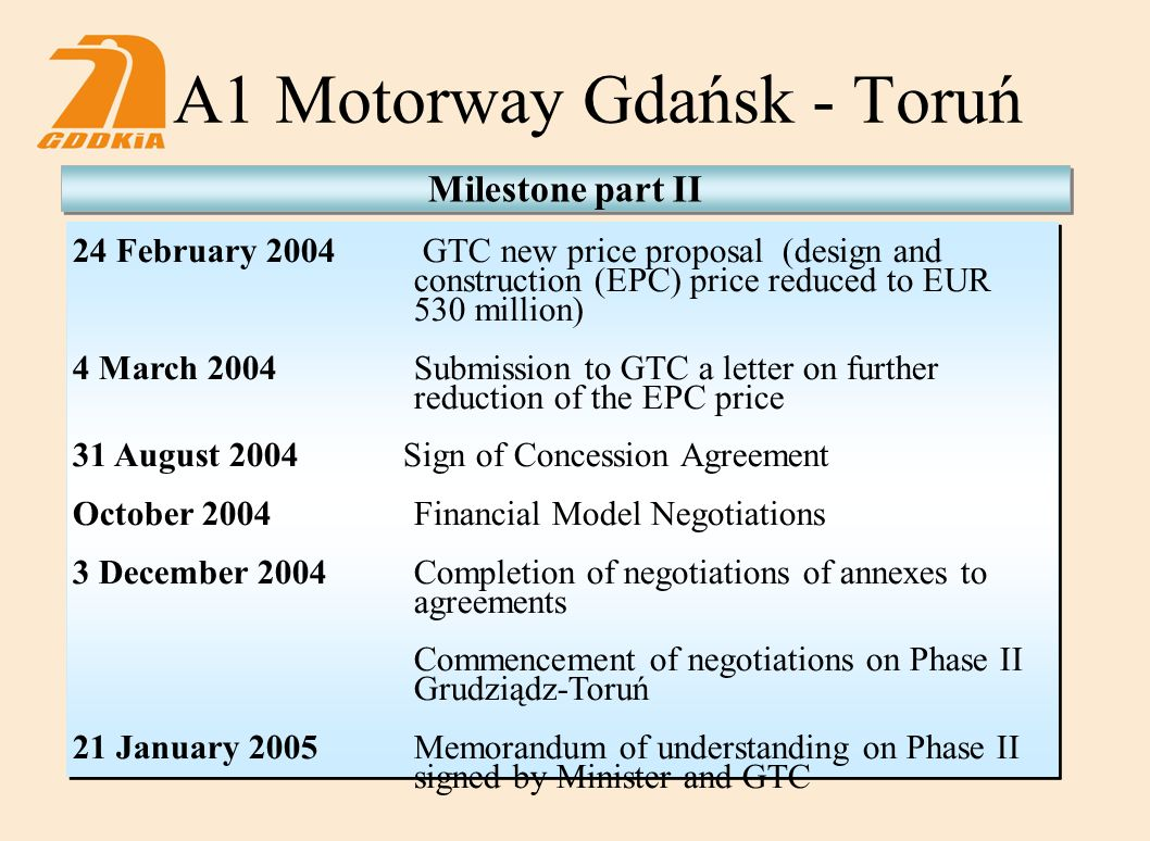 A1 Motorway Gdańsk - Toruń Milestone part II 24 February 2004 GTC new price proposal (design and construction (EPC) price reduced to EUR 530 million) 4 March 2004Submission to GTC a letter on further reduction of the EPC price 31 August 2004 Sign of Concession Agreement October 2004Financial Model Negotiations 3 December 2004Completion of negotiations of annexes to agreements Commencement of negotiations on Phase II Grudziądz-Toruń 21 January 2005Memorandum of understanding on Phase II signed by Minister and GTC
