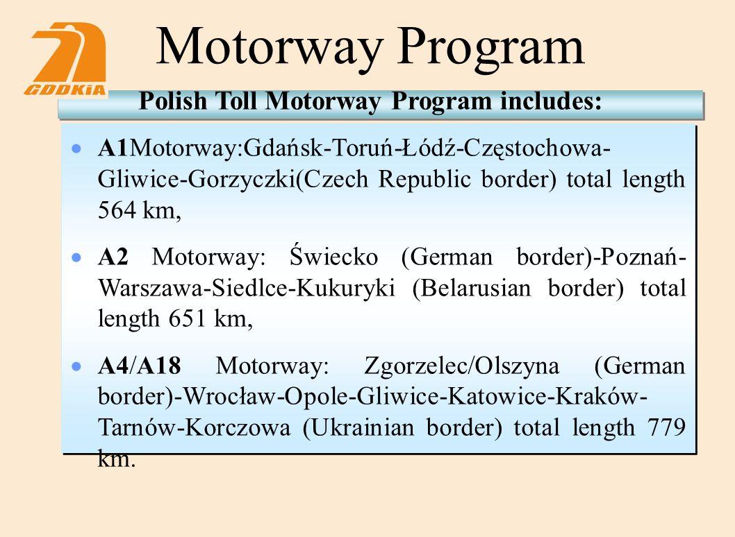 Motorway Program Polish Toll Motorway Program includes:  A1Motorway:Gdańsk-Toruń-Łódź-Częstochowa- Gliwice-Gorzyczki(Czech Republic border) total length 564 km,  A2 Motorway: Świecko (German border)-Poznań- Warszawa-Siedlce-Kukuryki (Belarusian border) total length 651 km,  A4/A18 Motorway: Zgorzelec/Olszyna (German border)-Wrocław-Opole-Gliwice-Katowice-Kraków- Tarnów-Korczowa (Ukrainian border) total length 779 km.