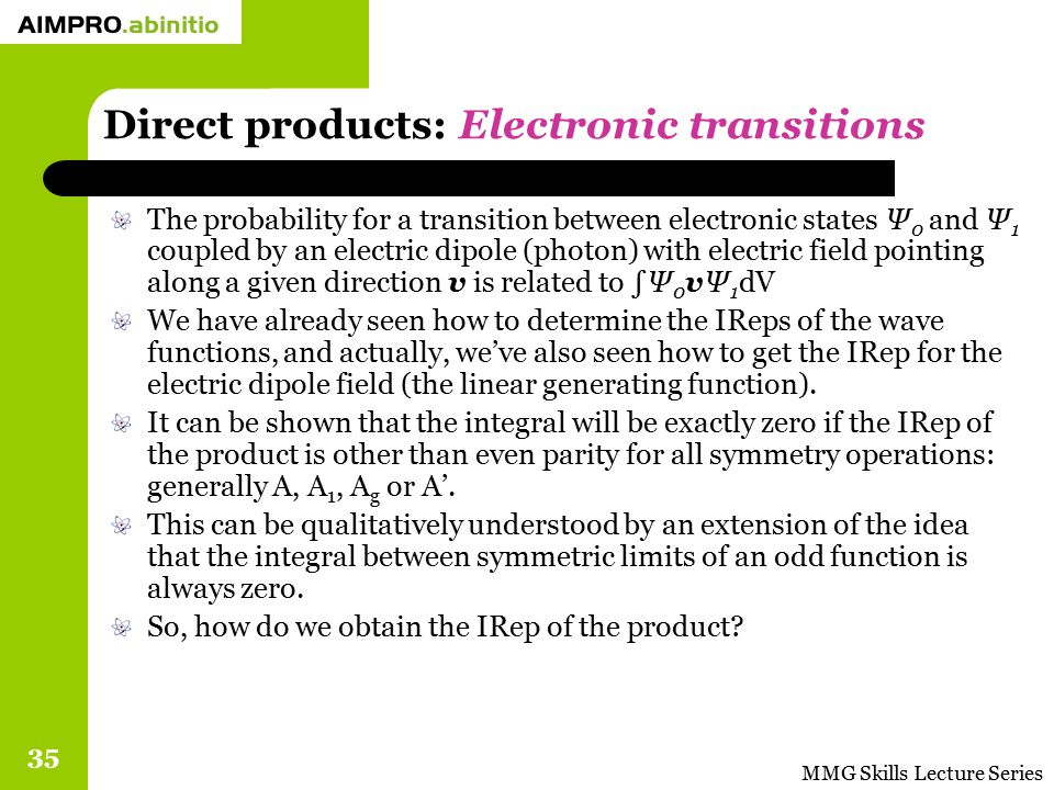 MMG Skills Lecture Series 35 Direct products: Electronic transitions The probability for a transition between electronic states Ψ 0 and Ψ 1 coupled by