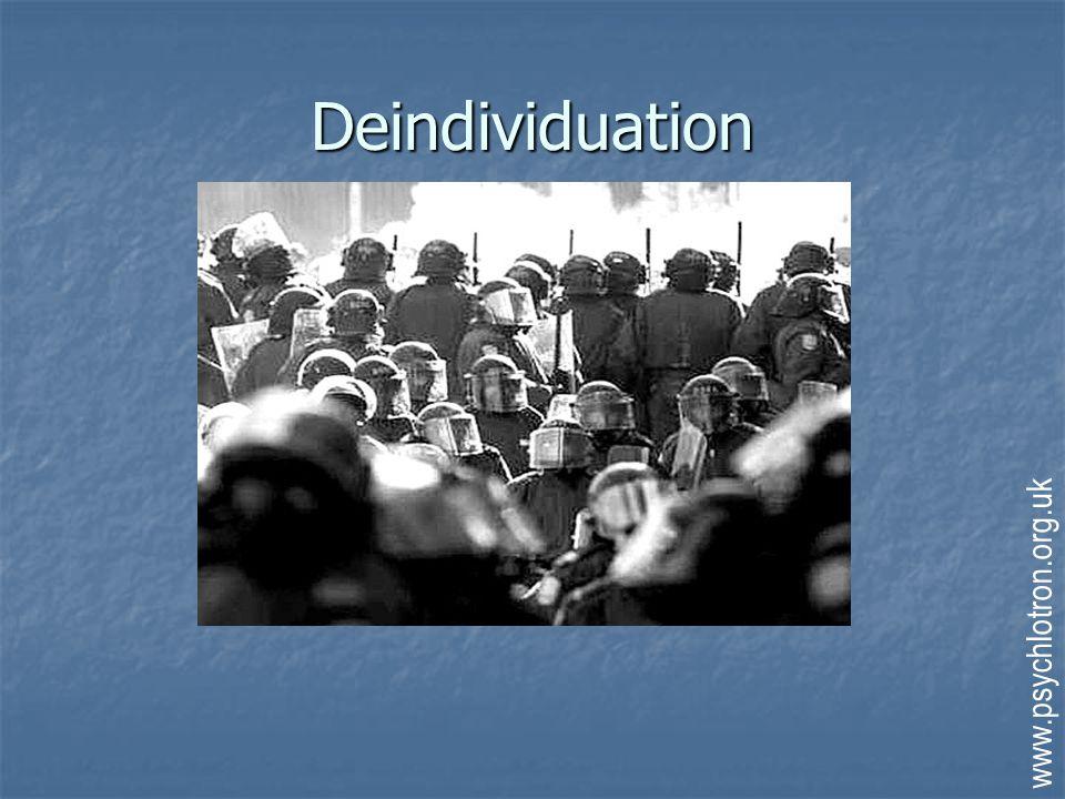 Deindividuation Zimbardo (1969) Zimbardo (1969) Hooded PPs were more aggressive Hooded PPs were more aggressive Zimbardo (1973; Stanford Experiment) Zimbardo (1973; Stanford Experiment) Guards' aggression increased by uniforms, sunglasses, night-time Guards' aggression increased by uniforms, sunglasses, night-time Mullen (1985) Mullen (1985) Violence of mob lynching a function of crowd size Violence of mob lynching a function of crowd size www.psychlotron.org.uk