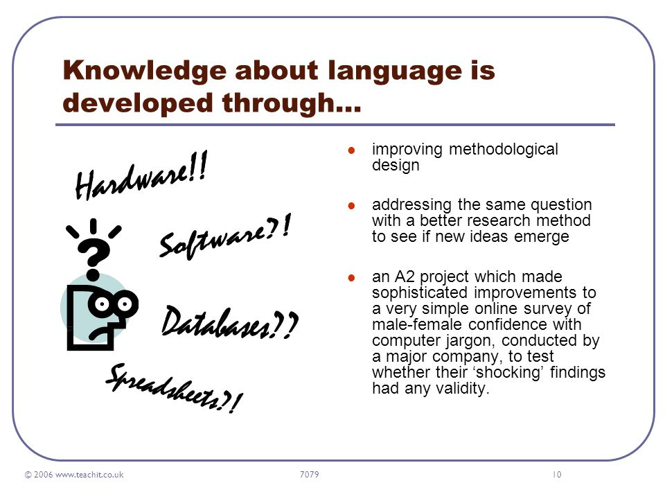 © 2006 www.teachit.co.uk 707910 Knowledge about language is developed through… improving methodological design addressing the same question with a better research method to see if new ideas emerge an A2 project which made sophisticated improvements to a very simple online survey of male-female confidence with computer jargon, conducted by a major company, to test whether their 'shocking' findings had any validity.