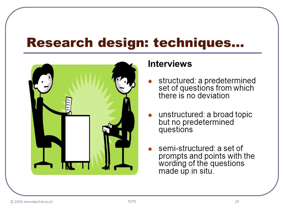 © 2006 www.teachit.co.uk 707929 Research design: techniques… Interviews structured: a predetermined set of questions from which there is no deviation unstructured: a broad topic but no predetermined questions semi-structured: a set of prompts and points with the wording of the questions made up in situ.