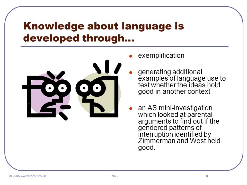 © 2006 www.teachit.co.uk 70798 Knowledge about language is developed through… exemplification generating additional examples of language use to test whether the ideas hold good in another context an AS mini-investigation which looked at parental arguments to find out if the gendered patterns of interruption identified by Zimmerman and West held good.