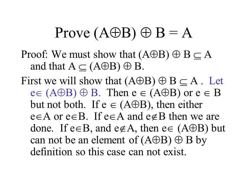 Proof of (A  B)  B = A, cont.Now we will show that A  (A  B)  B.
