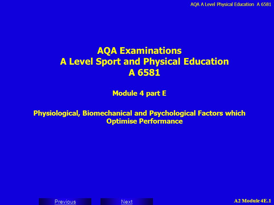 AQA A Level Physical Education A 6581 Next Previous A2 Module 4E.2 INDEX 26 - ATTITUDES IN SPORT 27 - FORMATION OF ATTITUDES 28 - COMPONENTS OF ATTITUDE - THE TRIADIC MODEL 29 - MEASUREMENT OF ATTITUDES BY OBSERVATION / USING PHYSIOLOGICAL TESTS QUESTIONNAIRES 30 - PREJUDICE AND SPORT STEREOTYPES NEGATIVE STEREOTYPES 31 - POSITIVE AND NEGATIVE ATTITUDES TO SPORT 32 - ATTITUDE CHANGE BY PERSUASION AND COGNITIVE DISSONANCE 33 - AGGRESSION IN SPORT ASSERTION / CHANNELLED AGGRESSION HOSTILE AGGRESSION / INSTRUMENTAL AGGRESSION 34 - CAUSES OF AGGRESSION PHYSIOLOGICAL AROUSAL UNDERDEVELOPED MORAL REASONING BRACKETED MORALITY / SPECIFIC CAUSES 35 - THEORIES OF AGGRESSION INSTINCT / FRUSTRATION AGGRESSION THEORIES SOCIAL LEARNING THEORY AGGRESSIVE CUE HYPOTHESIS 36 - SPECTATOR AGGRESSION 37 - RESPONSIBILITY FOR AGGRESSIVE BEHAVIOUR 38 - PREVENTION OF AGGRESSIVE BEHAVIOUR GOVERNING BODY 39 - PREVENTION OF AGGRESSIVE BEHAVIOUR COACHES / PLAYERS Index 3 - PERSONALITY 4 - THEORIES OF PERSONALITY - TRAIT TRAIT THEORIES - CATTELL - EYSENCK 5 - EYSENCK'S PERSONALITY TRAIT DIMENSIONS 6 - EVALUATION OF TRAIT THEORIES 7 - THEORIES OF PERSONALITY - SOCIAL LEARNING SOCIAL LEARNING THEORY - BANDURA VICARIOUS CONDITIONING 8 - THEORIES OF PERSONALITY - INTERACTIONIST - LEWIN 10 - MEASUREMENT OF PERSONALITY INTERVIEWS / QUESTIONNAIRES / OBSERVATION 11 - THE STRUCTURE OF CATTELL'S 16PF QUESTIONNAIRE 12 - PROFILE OF MOOD STATES (POMS) - MOODS 13 - SELF REPORT TESTS - PROBLEMS WITH THE TESTS 14 - MOTIVES AND MOTIVATORS - THEORIES 15 - INTRINSIC AND EXTRINSIC MOTIVATION 16 - EXTRINSIC REWARDS AND INTRINSIC SOURCES 17 - MAJOR MOTIVES FOR YOUTH / ADULT SPORT PARTICIPATION 18 - THE EFFECTIVENESS OF EXTRINSIC MOTIVATION DISADVANTAGES / EXPLANATIONS / APPLICATION 19 - DEVELOPING AND ENHANCING MOTIVATION PERSONAL CHARACTERISTICS / SITUATIONAL ASPECTS 20 - ACHIEVEMENT MOTIVATION NEED TO ACHIEVE (NACH) / NEED TO AVOID FAILURE (NAF) 21 - ACHIEVEMENT MOTIVATION - PERSONALITY COMPONENTS 22 - ACHIEVEMENT 