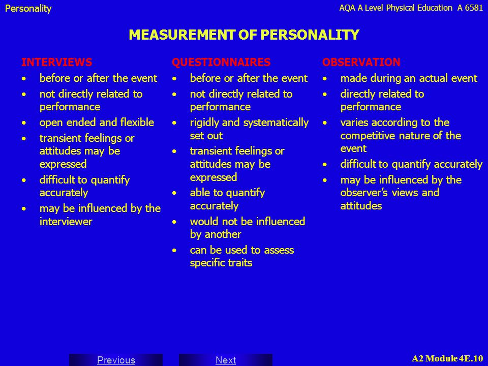 AQA A Level Physical Education A 6581 Next Previous A2 Module 4E.10 MEASUREMENT OF PERSONALITY INTERVIEWS before or after the event not directly relat