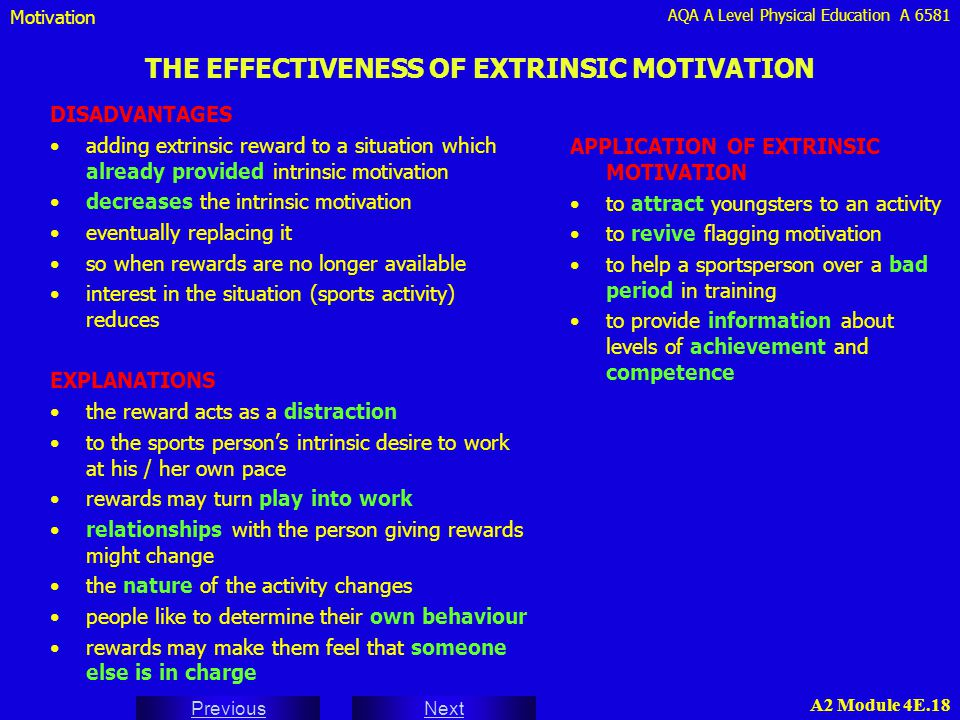 AQA A Level Physical Education A 6581 Next Previous A2 Module 4E.18 THE EFFECTIVENESS OF EXTRINSIC MOTIVATION DISADVANTAGES adding extrinsic reward to