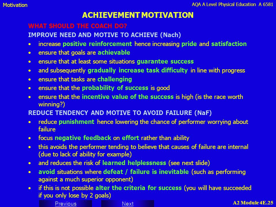 AQA A Level Physical Education A 6581 Next Previous A2 Module 4E.25 ACHIEVEMENT MOTIVATION WHAT SHOULD THE COACH DO? IMPROVE NEED AND MOTIVE TO ACHIEV