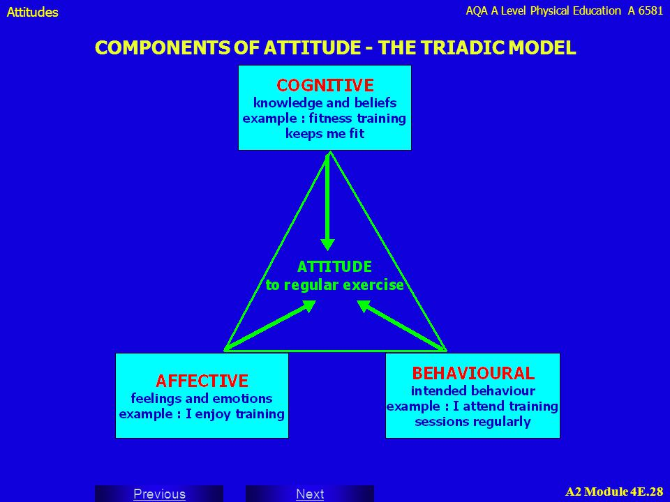 AQA A Level Physical Education A 6581 Next Previous A2 Module 4E.28 COMPONENTS OF ATTITUDE - THE TRIADIC MODEL Attitudes