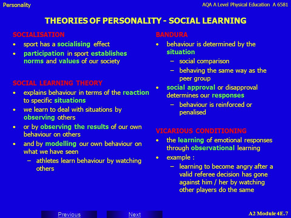 AQA A Level Physical Education A 6581 Next Previous A2 Module 4E.28 COMPONENTS OF ATTITUDE - THE TRIADIC MODEL Attitudes