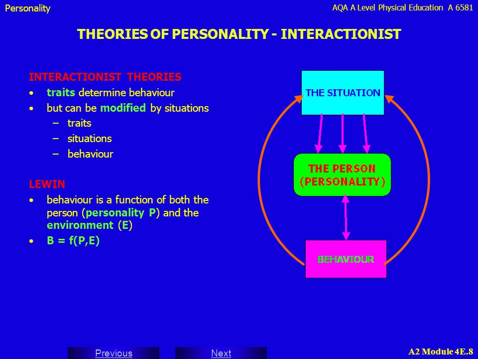 AQA A Level Physical Education A 6581 Next Previous A2 Module 4E.9 THEORIES OF PERSONALITY - INTERACTIONIST Personality EXAMPLE OF INTERACTIONIST THEORY APPROACH a young field event athlete shows promise, but worries about competing in important competitions and underperforms in these situations her coach works with her on anxiety management strategies and in her next competition she achieves a personal best the innate (trait) factors of the athlete's personality cannot be changed by a coach so the coach must therefore get her to view her anxiety (which could be a trait which emerges whenever undue stress is placed on her) in terms of the specific situation of the next competition the anxiety could be channelled into positive images of her technical model rejecting poor efforts as due to external factors (the the weather / wind) and building on positive images of successful technical elements achieved the athlete can then build success by this focusing on factors other than her own anxiety this enables her to adjust her behaviour according to internal factors such as rhythm and fluency this strategy should enable the athlete to remove the stress from the situation and hence reduce anxiety - even if she competes poorly
