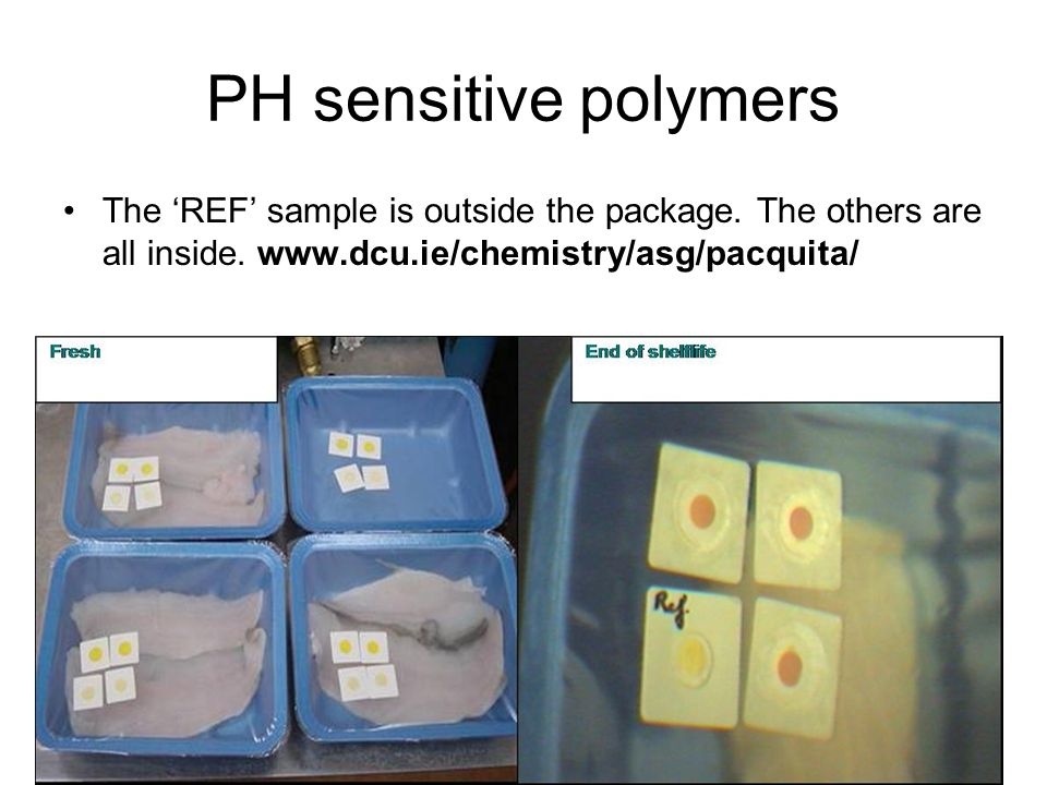 PH sensitive polymers The 'REF' sample is outside the package.